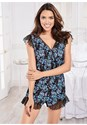 Front View Lace Trim Sleep Romper