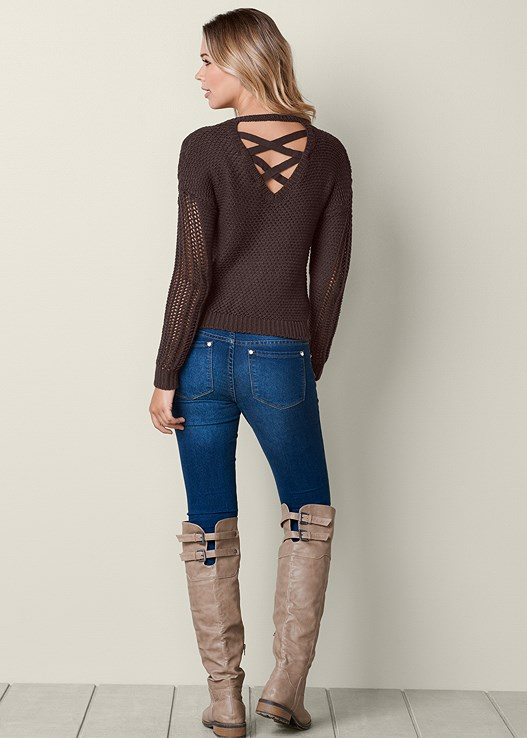 COLOR SKINNY JEANS,BUCKLE KNEE HIGH BOOT