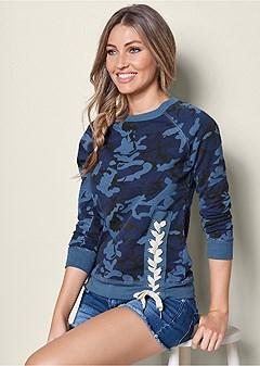 lace up detail sweatshirt