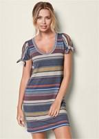stripe detail sleeve dress