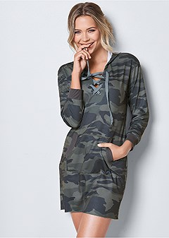 camo printed lounge dress