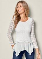crochet peek-a-boo trim top