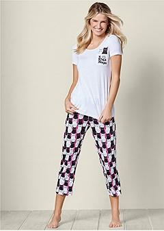 pocket tee capri pajama set
