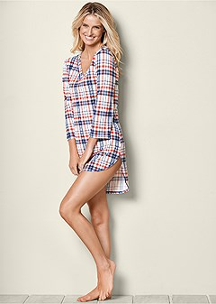 plaid pajama dress