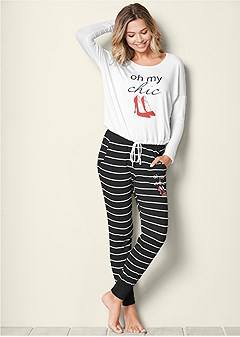 graphic jogger pajama set 610710642eddd