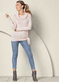 Front view Asymmetric Hem Sweater