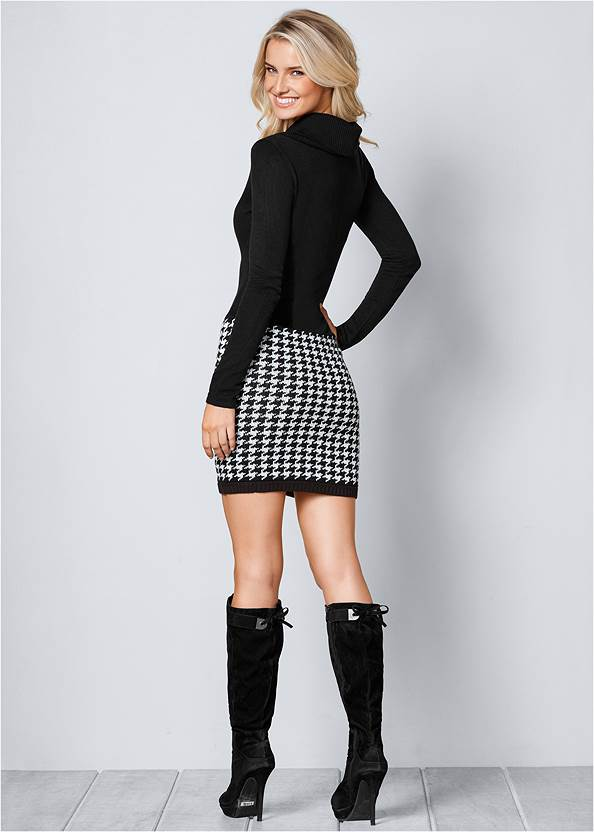 Back View Printed Sweater Dress