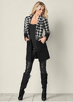 print color block coat