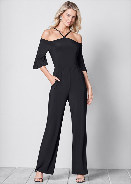 NECK DETAIL JUMPSUIT,HIGH HEEL STRAPPY SANDALS