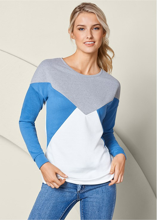 COLOR BLOCK SWEATSHIRT,COLOR SKINNY JEANS