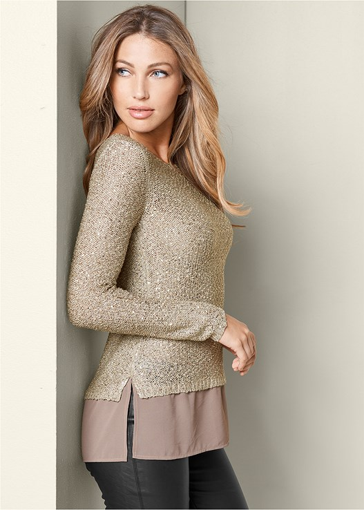 SEQUIN DETAIL SWEATER,FAUX LEATHER LEGGINGS,HIGH HEEL STRAPPY SANDALS