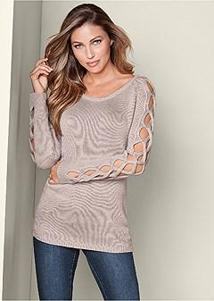sleeve detail tunic sweater