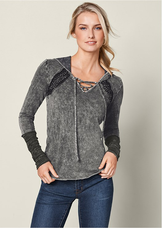 MINERAL WASH HOODIE,COLOR SKINNY JEANS,EVERYDAY YOU LACE BACK BRA,BUCKLE KNEE HIGH BOOTS