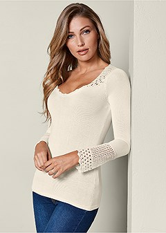 crochet detailed sweater