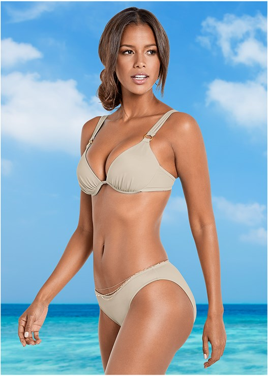 SCOOP FRONT BIKINI BOTTOM,ALLURING PUSH UP TOP,CROCHET COLD SHOULDER TOP,SHAPELY RUCHED BANDEAU,TRIPLE BELLY CHAIN