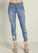 embroidered tassel jeans