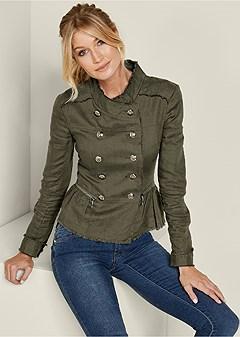 button detail linen jacket