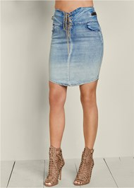 Front View Lace Up Jean Skirt