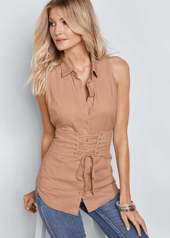 Corset Detail Top,Mid Rise Color Skinny Jeans,High Heel Strappy Sandals
