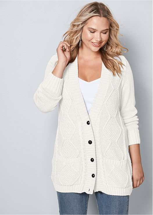 5b1c19684593d Plus Size EXTRA LONG CARDIGAN in Off White