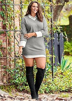 plus size collar detail sweater dress