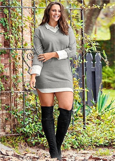 Plus Size Collar Sweater Twofer Dress