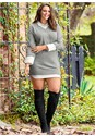 Full Front View Collar Detail Sweater Dress