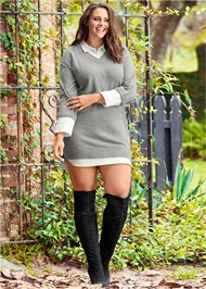 Full Front View Collar Sweater Twofer Dress