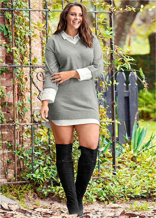 Collar Sweater Twofer Dress,Wrap Stitch Detail Booties,Block Heel Boots