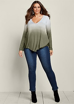 plus size ombre overlay v-neck top