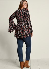 Back View Lace Up Smocked Waist Top