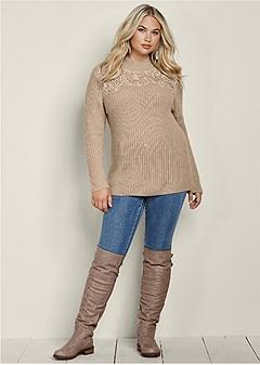 plus size lace mock neck sweater