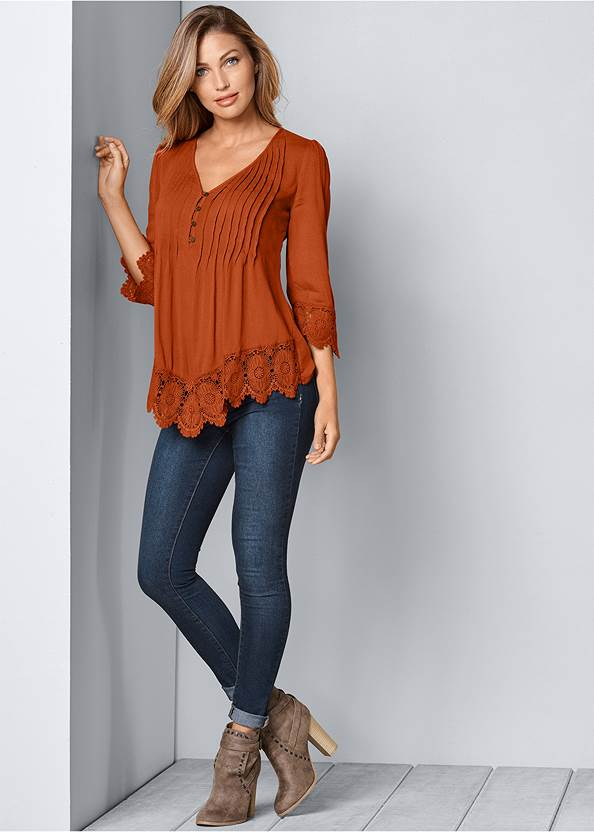 Full Front View Lace Detail Button Up Top