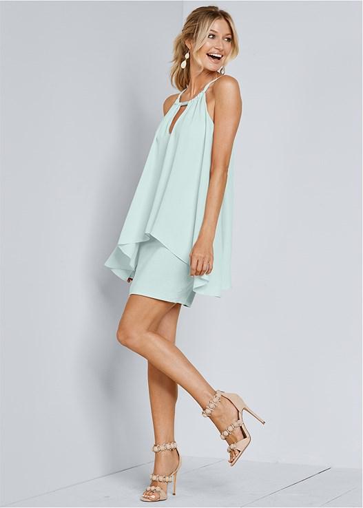 Keyhole Mini Dress in Mint | VENUS