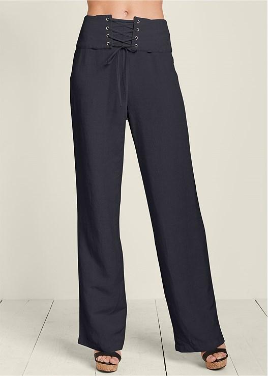 CORSET DETAIL LINEN PANTS