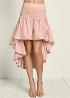 lace detail high low skirt