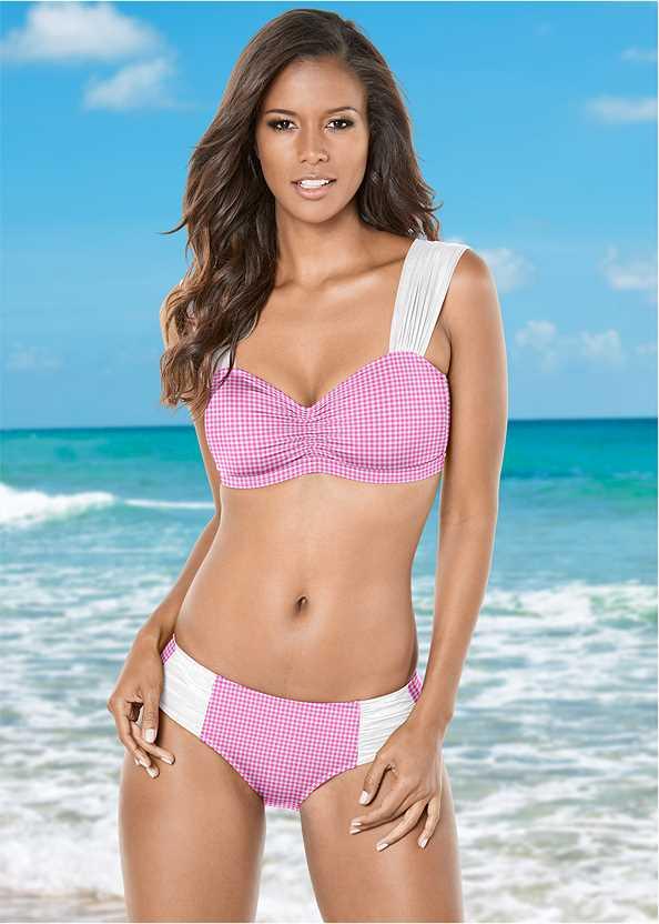 Midrise Mesh Side Bottom,Marilyn Underwire Push Up Halter Top