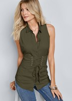 corset detail sleeveless top