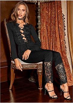 lace detail pants