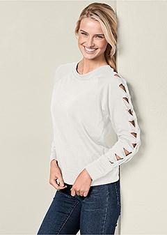 knot sleeve sweatshirt