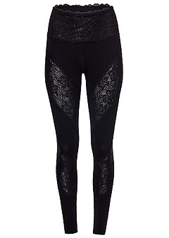 lace inset leggings