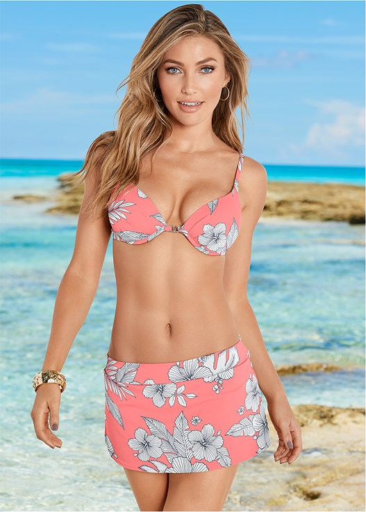 ENHANCER PUSH UP BRA,SKIRTED SWIM BIKINI BOTTOM
