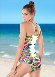 BACK VIEW Ruched Side Halter Tankini Top