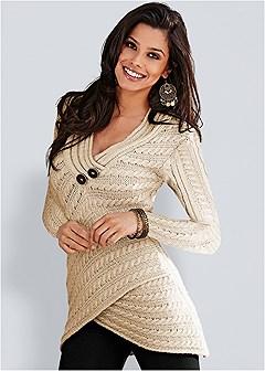 button detail wrap sweater