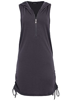 plus size zip front hooded cover up