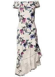 Alternate View Off Shoulder High Low Dress