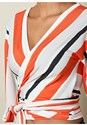 Alternate View Stripe Wrap Top