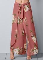 floral open leg pants