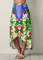 embellished print skirt