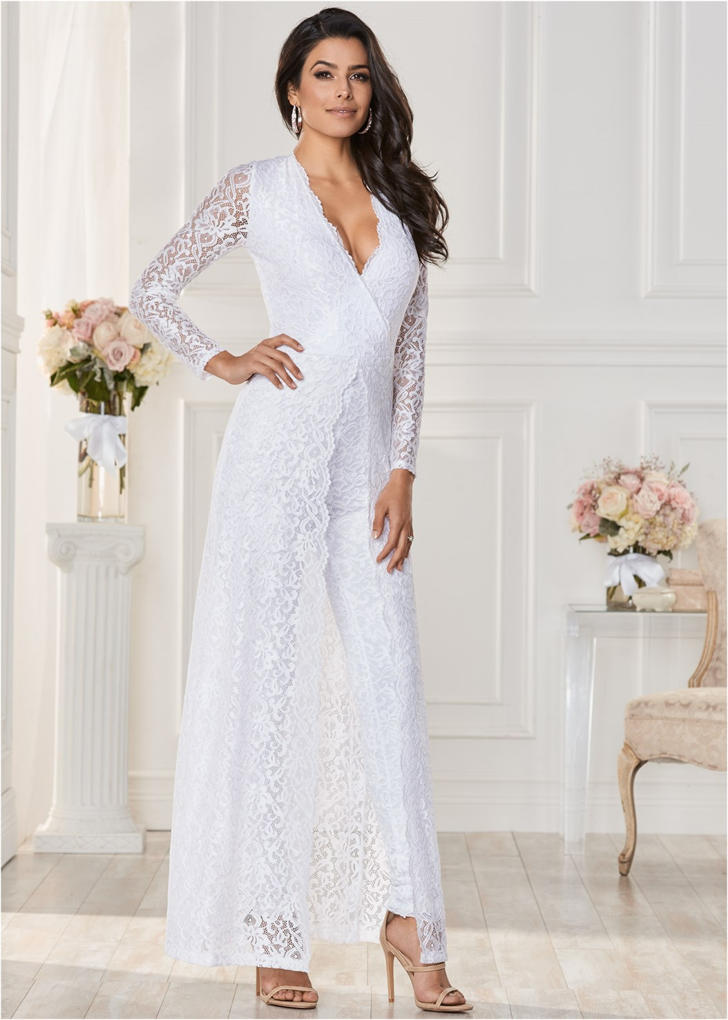 Plunging Lace Jumpsuit,Natural Beauty Bralette,High Heel Strappy Sandals